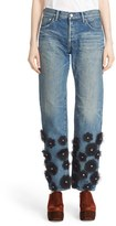 Women's Tu Es Mon Tresor Tulle Flower Embellished Jeans