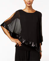MSK Sequined Chiffon Cold-Shoulder Top