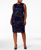 Kasper Plus Size Printed Scuba Sheath Dress