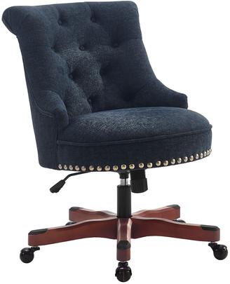 Linon Sinclair Office Chair Dark Blue - Dark Walnut Wood Base