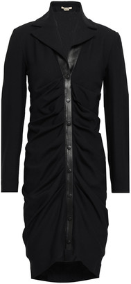 Roberto Cavalli Leather-trimmed Wool-blend Twill Mini Shirt Dress