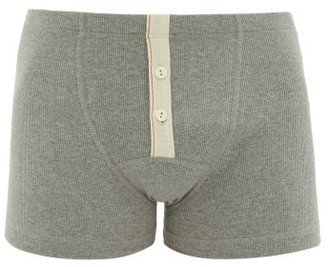 Hemen Biarritz - Albar Ribbed Organic Cotton-blend Boxer Briefs - Grey