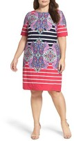 Eliza J Plus Size Women's Stripe & Paisley Shift Dress