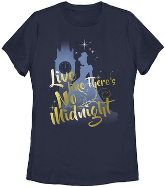 """Licensed Character Disney's Cinderella Juniors' """"Live Like There's No Midnight"""" Graphic Tee"""