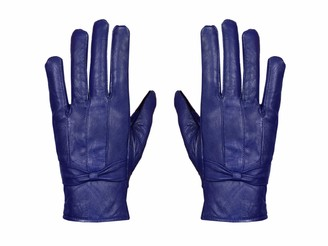 Sixsigma Sports Ladies Leather Gloves Women Real Soft Fleece Lined Winter Casual Driving Warm (Royal Blue Small/Medium)