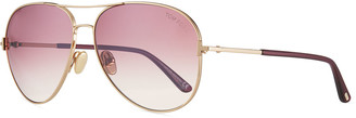 Tom Ford Clark Metal Aviator Sunglasses, Pink/Gold