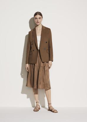 Vince Shirred Silk Habotai Panel Skirt