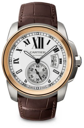 Cartier Calibre de 18K Pink Gold, Stainless Steel & Alligator Strap Watch