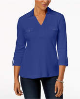 Karen Scott Cotton Johnny-Collar Shirt, Created for Macy's