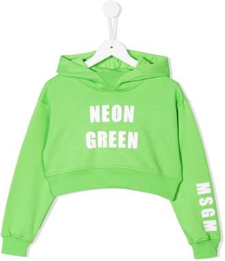 MSGM Kids colour print cropped hoodie
