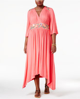 Melissa McCarthy Trendy Plus Size Embroidered Maxi Dress