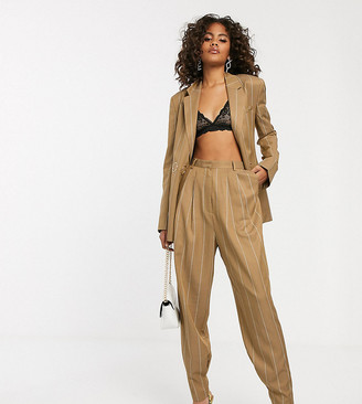 Asos Tall DESIGN Tall camel stripe mansy suit tapered pants-Multi