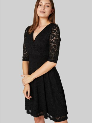 M&Co Izabel lace 3/4 sleeve skater dress