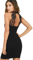 Solemio Endlessly Alluring Black Lace Bodycon Dress