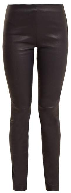 Raey Stretch Leather Leggings - Womens - Navy
