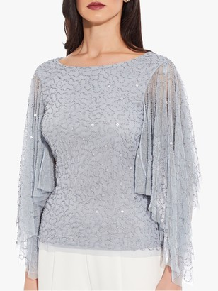 Adrianna Papell Beaded Long Flutter Sleeve Top, Heather Blue