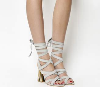Office Ashley Block Heel Sandals Grey Suede Bone Effect Heel