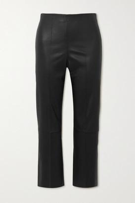 By Malene Birger Florentina Cropped Paneled Leather Slim-leg Pants - Black