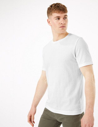 Marks and Spencer Pure Cotton Textured T-Shirt