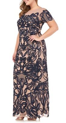 JS Collections Soutache Lace Illusion Gown