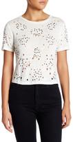 Alice + Olivia Short Sleeve Embellished Linen Crop Top