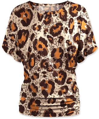 Udear UDEAR Women's Blouses Print - Brown & Orange Leopard Dolman Top - Women & Plus
