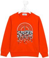 Stone Island Junior - pixel logo print sweatshirt - kids - Cotton - 6 yrs