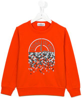 Stone Island Junior - pixel logo print sweatshirt - kids - Cotton - 8 yrs