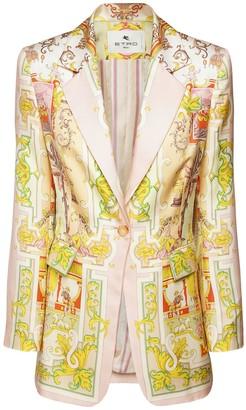 Etro Printed Silk Twill Blazer Jacket