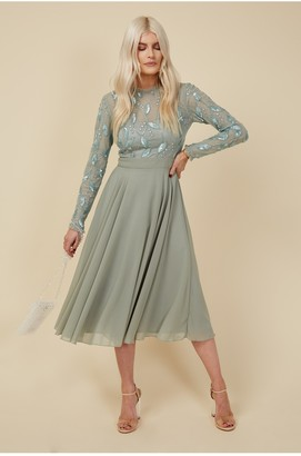 Little Mistress Bridesmaid Ayla Waterlily Embellished Midi Dress