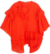 Emilio Pucci Ruffled Silk-chiffon Blouse - Red