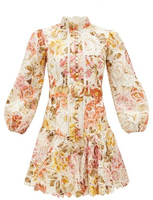 Zimmermann Bonita Floral-print Linen Mini Dress - Womens - Cream Multi