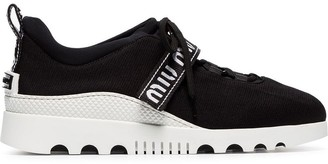 Miu Miu black low top lace up fabric sneakers
