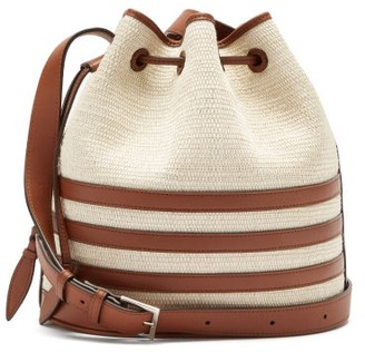 Hunting Season The Drawstring Leather And Iraca Palm Bucket Bag - Beige Multi