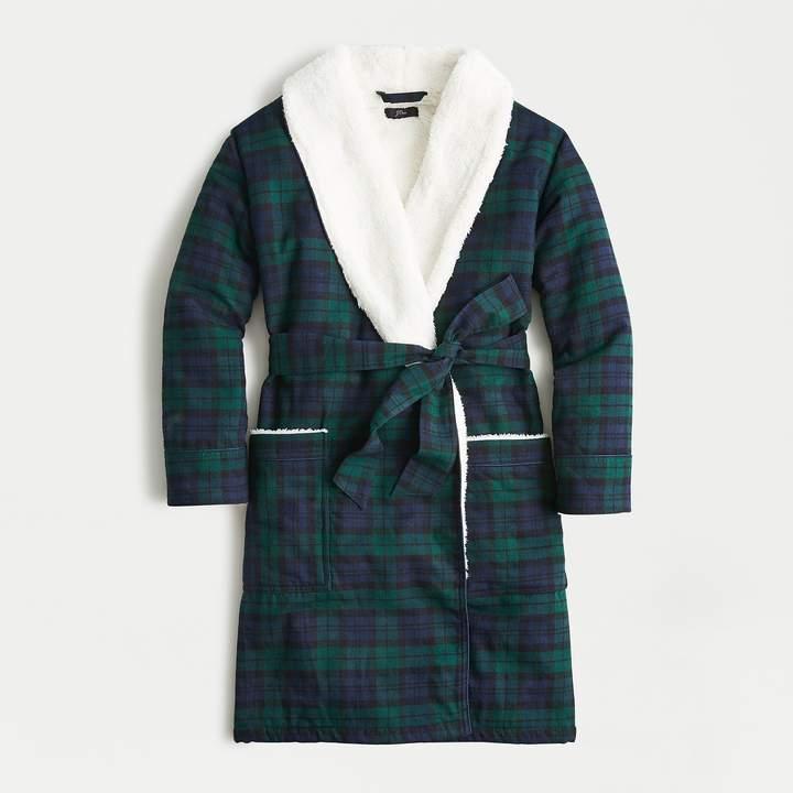 Sherpa-lined flannel robe in Black Watch tartan