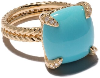 David Yurman 18kt yellow gold Chatelaine turquoise and diamond ring