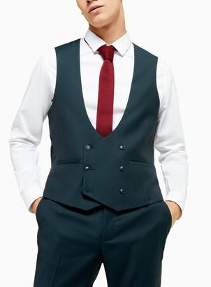 Topman Teal Slim Fit Suit Waistcoat