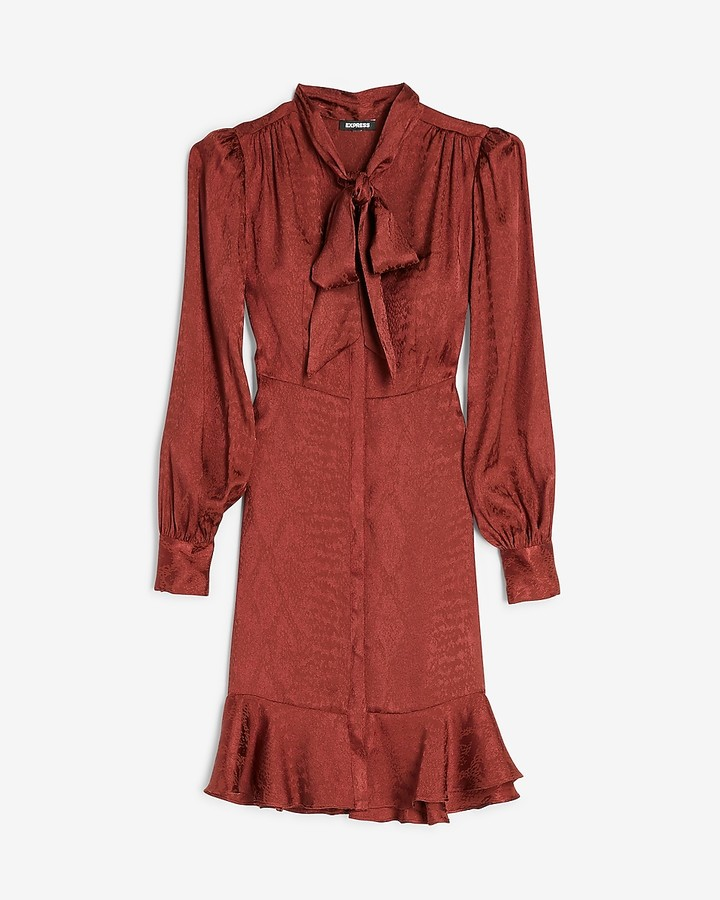 Express Jacquard Snakeskin Tie Neck Shirt Dress