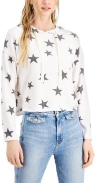 Self Esteem Juniors' Star Printed Cozy Knit Hoodie