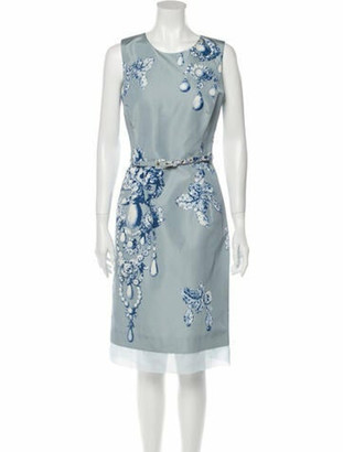 Oscar de la Renta Silk Knee-Length Dress w/ Tags Blue