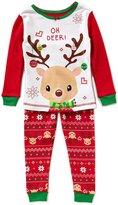 Komar Kids Little Girls 2T-4T Christmas Reindeer Top & Pants Pajama Set