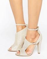 Little Mistress Cut Out Glitter Peep Toe Heeled Sandal