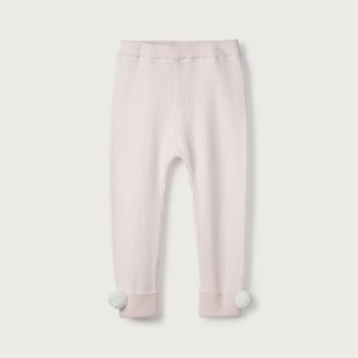 The White Company Pom-Pom Knitted Leggings, Pink, 12-18mths