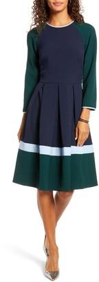 1901 Colorblock Long Sleeve Pleated Midi Dress (Petite)