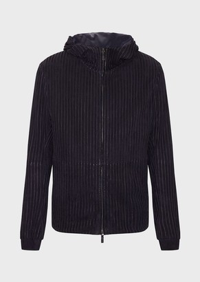 Giorgio Armani Suede Jacket With Strips Of Colour-Matched, Nappa Leather Embroidery