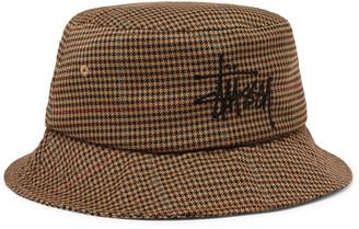 Stussy Logo-Embroidered Tweed Bucket Hat