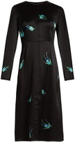 Diane von Furstenberg Swallow-print hammered-silk dress