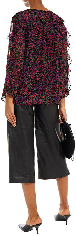 Thumbnail for your product : BA&SH Genn Ruffled Printed Crepon Blouse