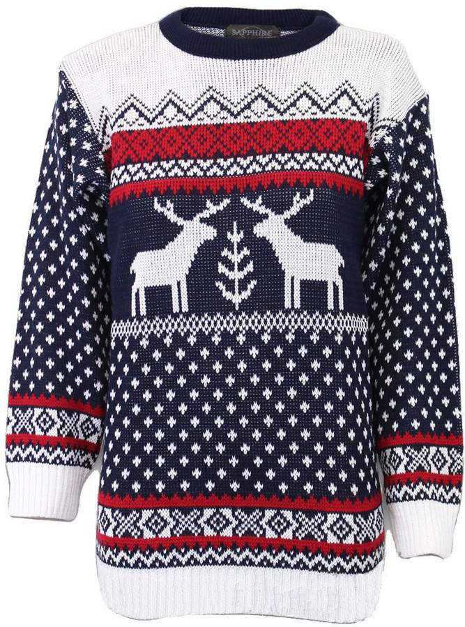 6f4e17f9 GirlzWalk ® Women Christmas Knitted 2 Reindeer Fairisle Jumper