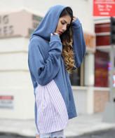 Z Avenue Women's Sweatshirts and Hoodies Denim - Denim Blue Stripe-Inset Kangaroo-Pocket Hoodie - Women